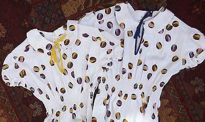 Vintage girls clothes UNUSED cotton dress 1970s Elasticated waist Flounced hem